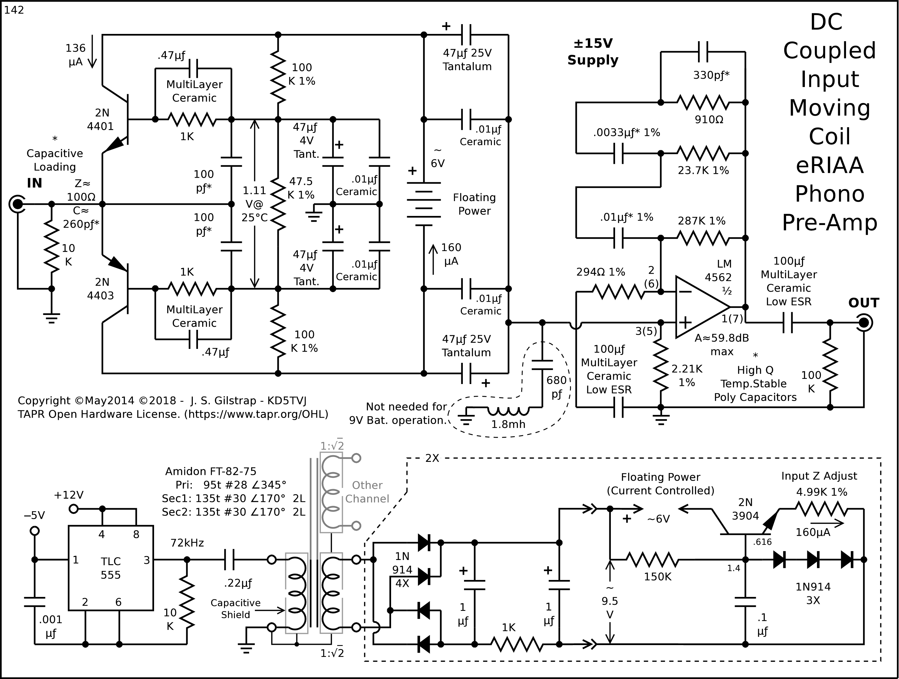 High Performance Phono Preamps Preamplifier Input From Moving Coil Head In The 3 Previous Circuits Power Supplies For Amps Could Be Replaced With A 9v Battery Each Channel Extra Low Noise Operation