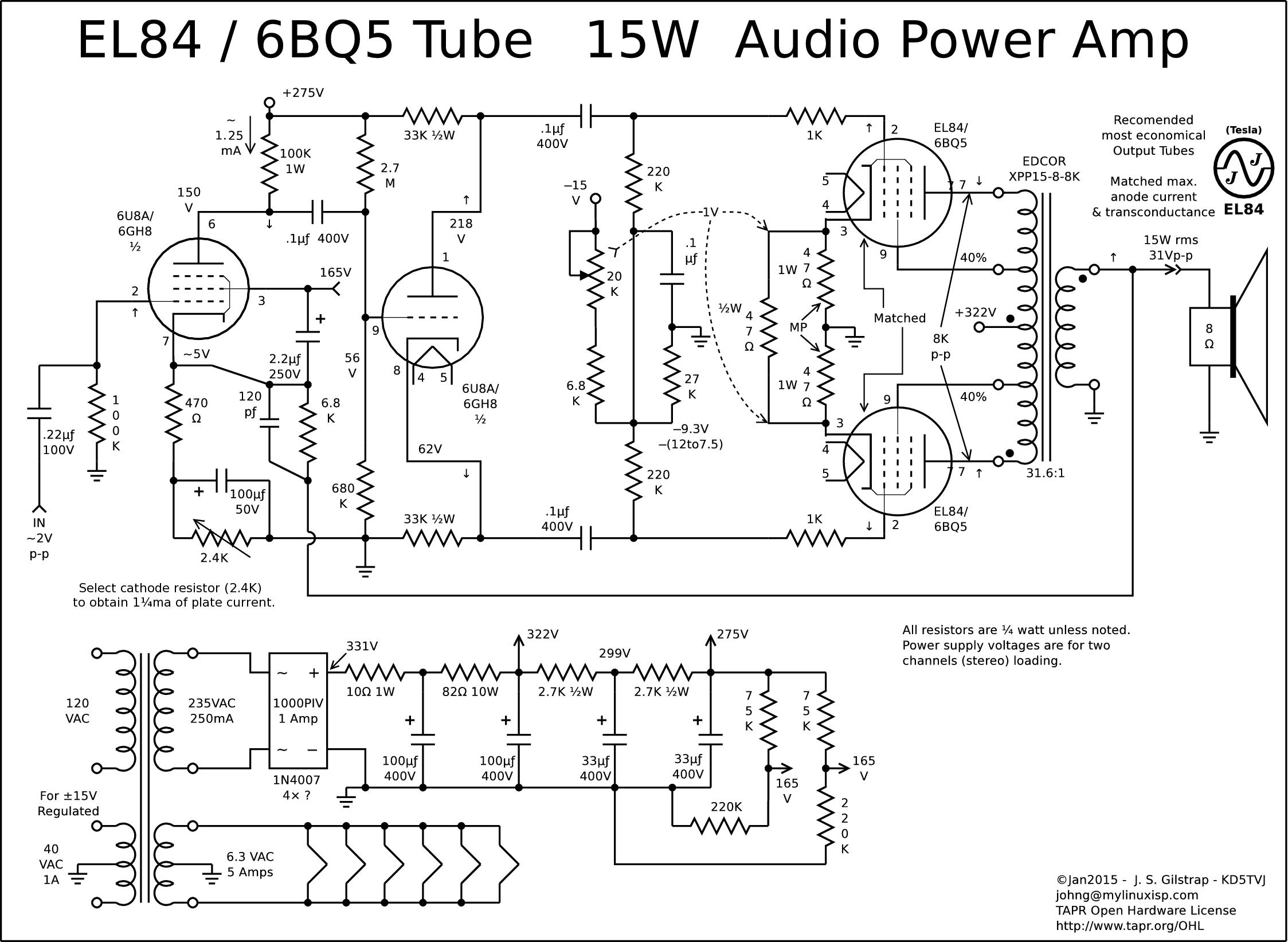 Wiring Diagram For Guitar Amp : Schematics